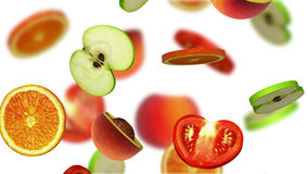 Sections of fruits falling on white background, 3d illustration Stock Images