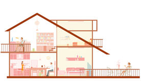Sections of House. An illustrated layout showing different sections of a house, isolated on white background Royalty Free Stock Image