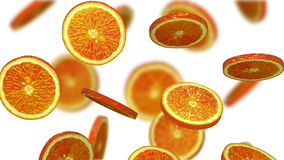 Sections of orange falling on white background, 3d illustration Royalty Free Stock Photos
