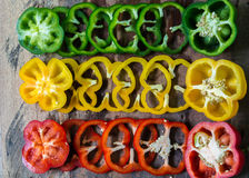 Sections of paprika Place cut pieces Royalty Free Stock Images