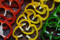 Sections of paprika Place cut pieces Royalty Free Stock Photo