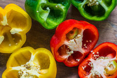 Sections of paprika Place cut pieces Royalty Free Stock Photos