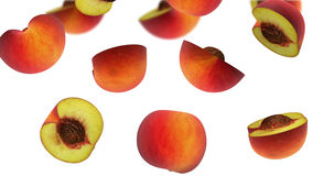 Sections of peach falling on white background, 3d illustration Royalty Free Stock Images