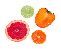 Sections of some fruits Royalty Free Stock Images