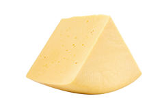 Sector of cheddar cheese isolated on white Stock Photos