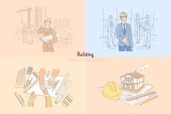 Sector de la construcción, emplazamiento de la obra, proyecto joven de la tenencia del arquitecto, reunión de negocios, bandera d stock de ilustración