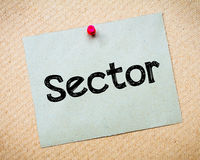 Sector. Message. Recycled paper note pinned on cork board. Concept Image Stock Images
