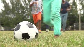 Secuencia de la cámara lenta de familia que juega a fútbol en parque almacen de metraje de vídeo