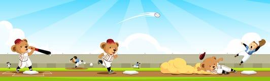 Secuencia de las personas del oso del béisbol Imagen de archivo libre de regalías