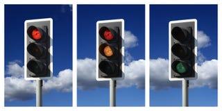 Secuencia de semáforos verdes ambarinos rojos Foto de archivo