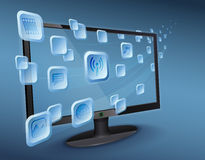 Secuencia del app de los media en el Internet conectado wlan TV Foto de archivo