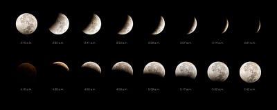 Secuencia del eclipse lunar Foto de archivo libre de regalías