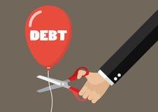 Secuencia del globo de la deuda del corte de la mano grande con las tijeras Fotografía de archivo