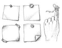 Secuencia del recordatorio en etiquetas engomadas del finger y del papel Fotos de archivo libres de regalías