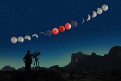 Secuencia estupenda y hombre del eclipse de la luna de la sangre azul con el telescopio Foto de archivo libre de regalías
