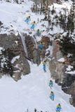 Secuencia libre 4 del competidor de la competición del esquí del International Imagen de archivo