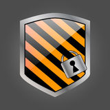 Secuirity shield with lock 3 Royalty Free Stock Image