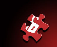 Secuity Theme. A photo of a puzzle pice with a lock overlay Royalty Free Stock Image