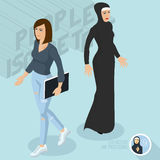 Secular and Muslim ladies. Royalty Free Stock Images