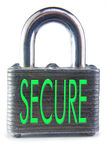 Secure. Isolated pad lock with SECURE text Royalty Free Stock Photo