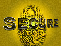 Secure Access Indicates Password Fingerprint And Protected Royalty Free Stock Image