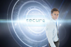 Secure against black background with glowing circle Royalty Free Stock Photo
