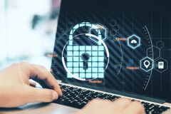 Free Secure And Data Protection Concept With Digital Lock Sign, Pinpoint And Cloud Icons On Man Hands Working On Laptop Keyboard Stock Image - 220149001