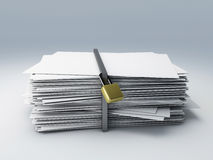 Secure archive. Image of secure archive paper, 3d illustration Stock Photo