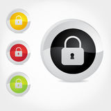 Secure badge. Vector icons indicating secure websites, contact, shopping, or procedure. For web or print Stock Images