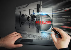 Secure banking on laptop Stock Photo