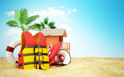 Secure beach concept Life jacket life ring and a horn and other Royalty Free Stock Photography