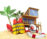 Secure beach concept Life jacket life ring and a horn and other Royalty Free Stock Photos