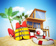 Secure beach concept Life jacket life ring and a horn and other Stock Image