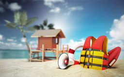 Secure beach concept Life jacket life ring and a horn and other Royalty Free Stock Image