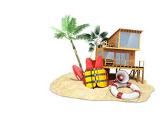 Secure beach concept Life jacket life ring and a horn and other Stock Photography