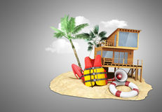 Secure beach concept Life jacket life ring and a horn and other. Objects on the sand 3render Stock Photos