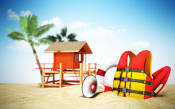 Secure beach concept Life jacket life ring and a horn and other Stock Photo