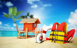 Secure beach concept Life jacket life ring and a horn and other Royalty Free Stock Photo