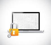 Secure binary computer tablet illustration design Stock Photography