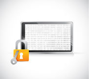 secure binary tablet illustration design Stock Photo