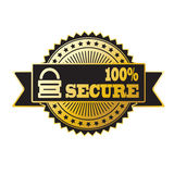 Secure lock gold and black badge. 100 % secure black and gold badge Royalty Free Stock Photography