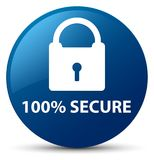 100% secure blue round button. 100% secure isolated on blue round button abstract illustration Royalty Free Stock Photography