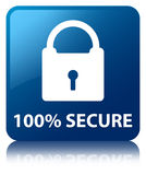 100% secure blue square button. 100% secure isolated on blue square button reflected abstract illustration Stock Photo