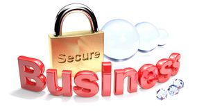 Secure Business with padlock - 3D rendering Royalty Free Stock Photography