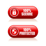 100 secure button. S on white background stock illustration