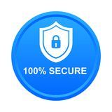 100% secure button. Simple vector illustration of Safe secure padlock blue web round button on white background royalty free illustration