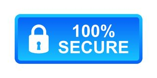 100% secure button. Simple vector illustration of Safe secure padlock blue web button on white background stock illustration