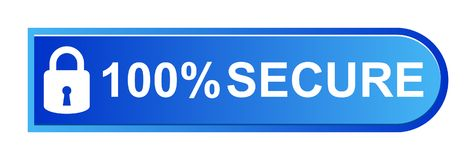 100% secure button. Simple vector illustration of Safe secure padlock blue web button on white background vector illustration