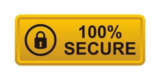 100% secure button. Simple vector illustration of Safe secure padlock gold yellow web button on white background vector illustration