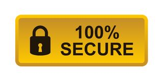 100% secure button. Simple vector illustration of Safe secure padlock gold yellow web button on white background stock illustration